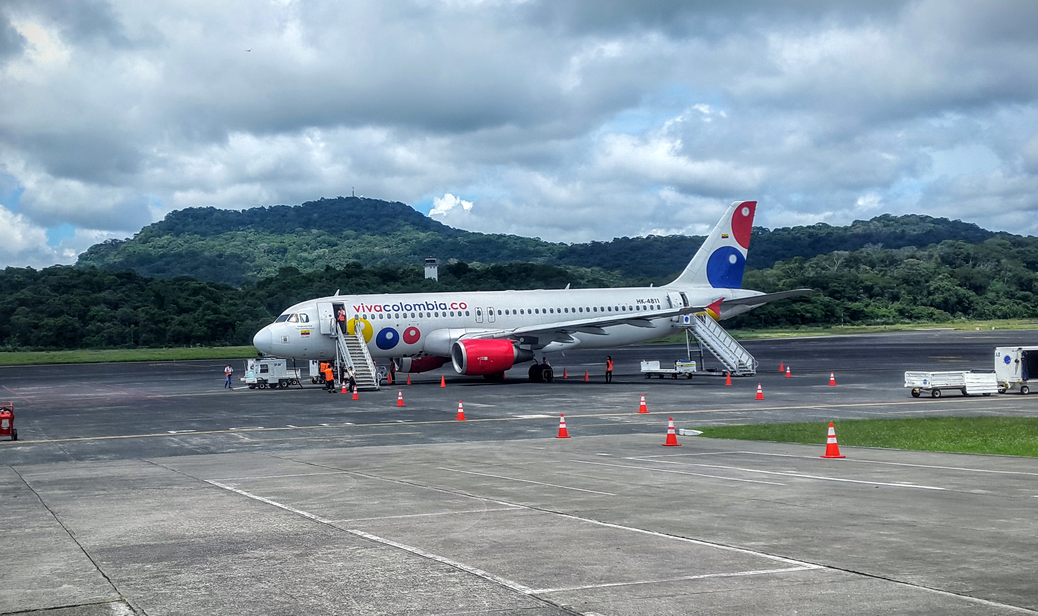 VivaColombia Airline Airbus A320-200 sits on the tarmac at Panama Pacifico International Airport in Panama.