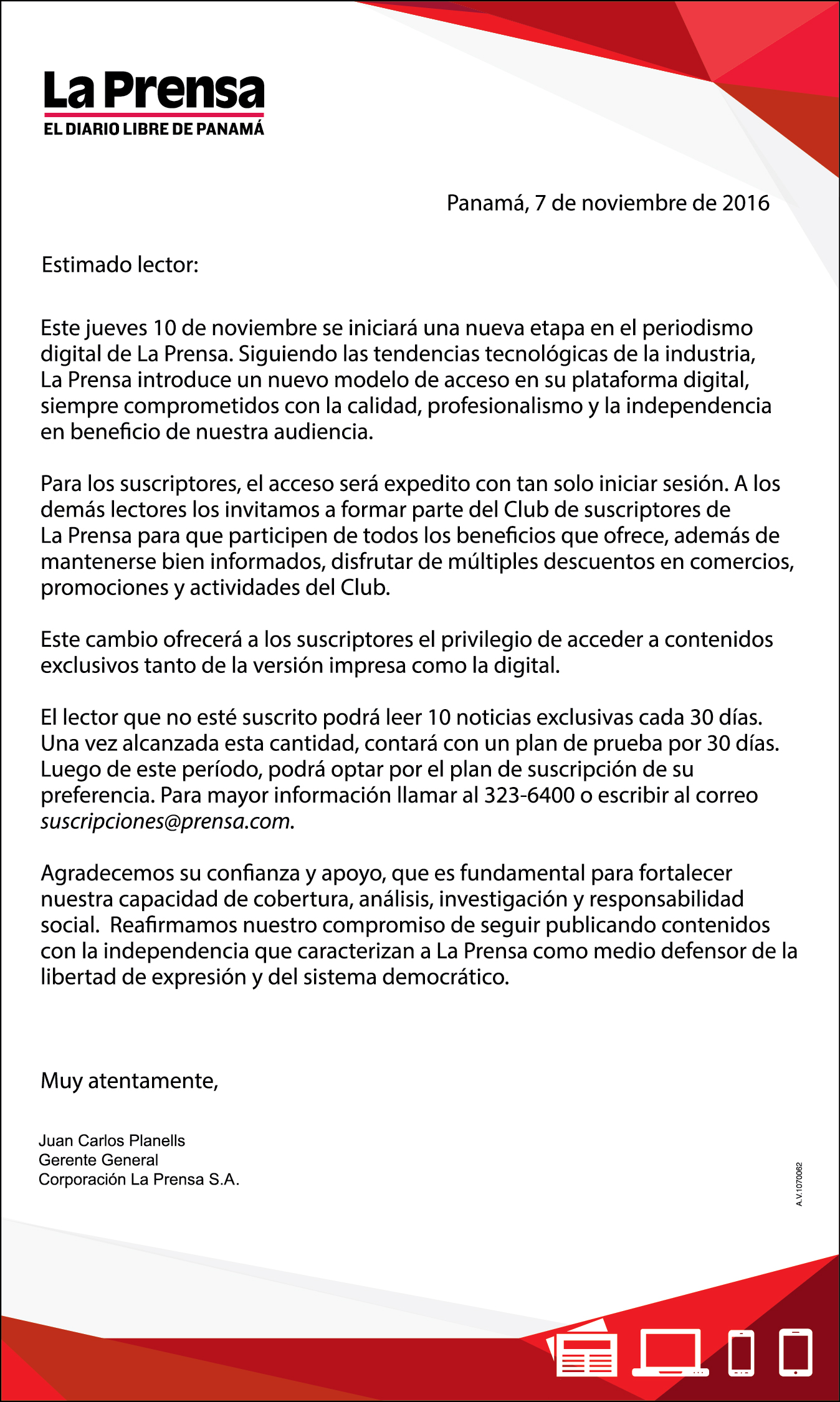 Image of a letter from La Prensa Corporation announcing the launch of a pay wall for online access to the newspaper.