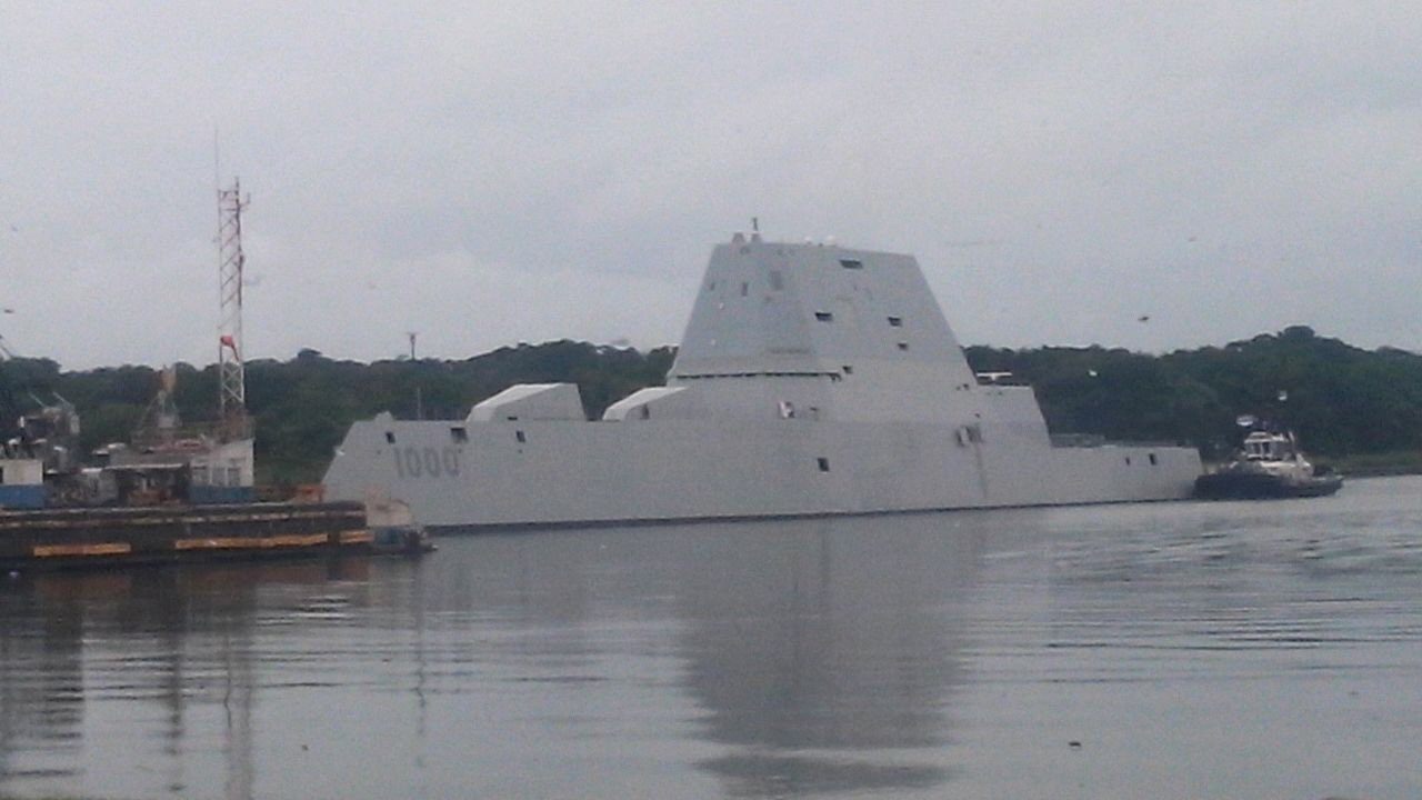 A U.S. Embassy photo of USS Zumwalt entering the Panama Canal on the Caribbean side