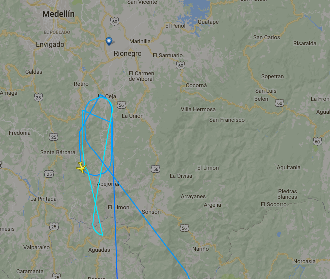 Peru LAN flight 3020 circling before returning to Bogota after LaMia flight 2933 crashes.