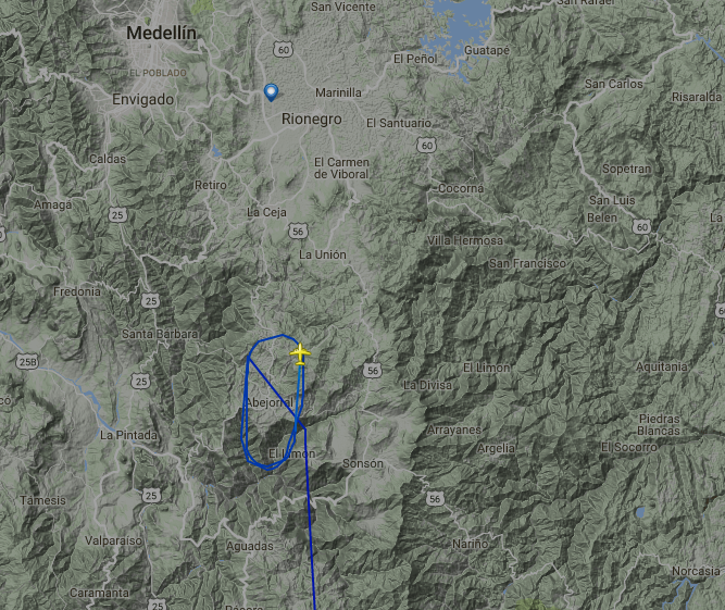 LaMia flight CP-2933 in a holding pattern before it runs out of fuel and crashes south of Medellin.