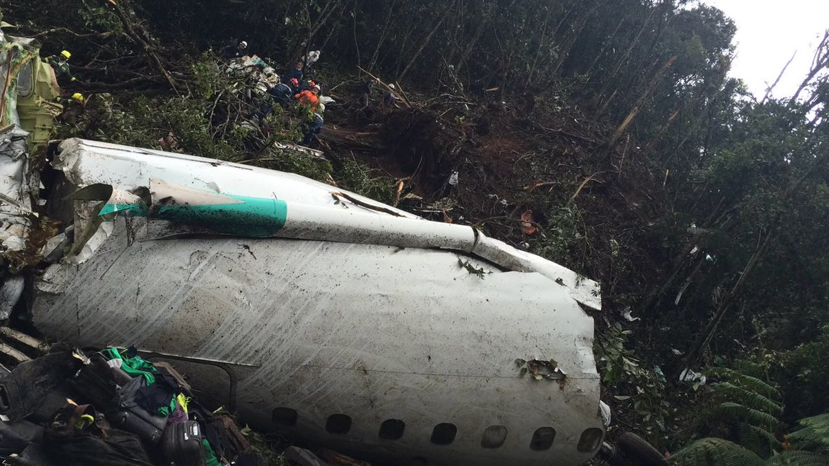 Fuselage of LaMia flight 2933 carrying Brazilian soccer team and journalists broke apart when it crashed south Medellin, Colombia