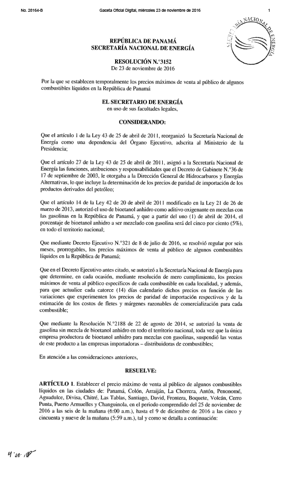 Page 1 of a Resolution That Sets Gas and Diesel Prices in Panama