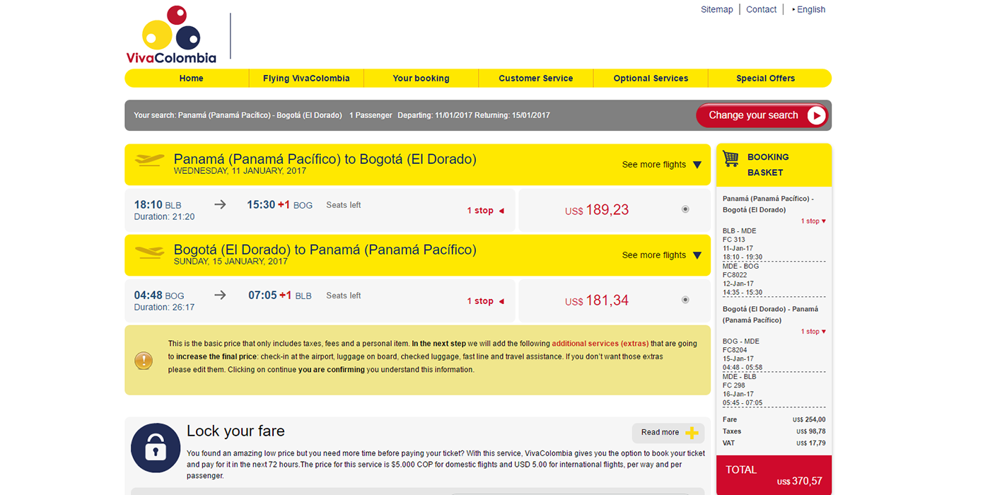 Screenshot of VivaColombia's airfare to Bogota From Panama shows it's no longer the cheapest option.