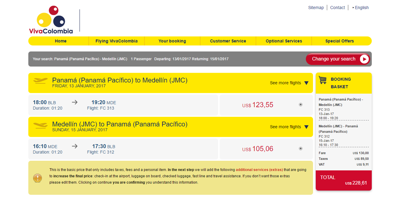 VivaColombia charges $228.61 for a flight to Medellin from Panama