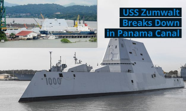 U.S. Navy Destroyer Zumwalt Breaks Down in Panama Canal