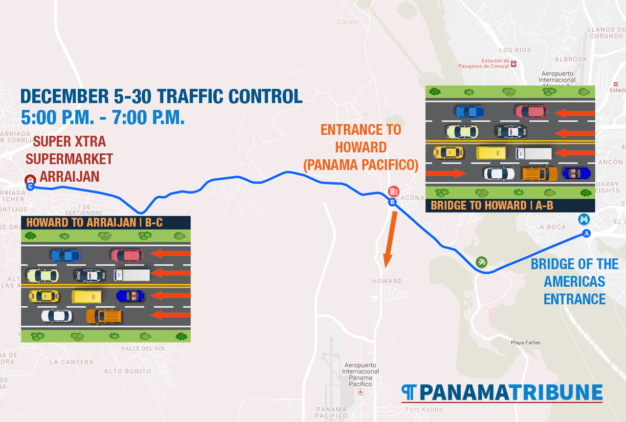 All four lanes of the Pan-American Highway are open to westbound traffic from Panama Pacifico (Howard) to Arraijan.