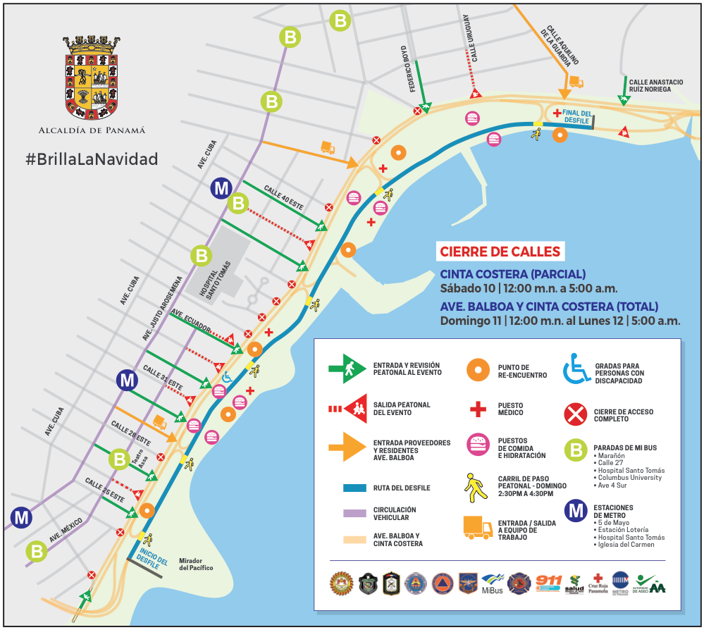 Map shows entrances and exits to Panama City's annual Christmas parade along the waterfront