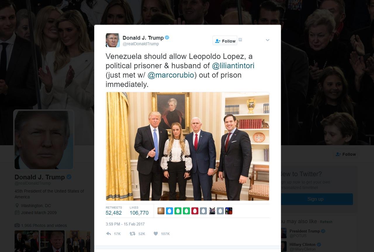 Trump Urges Venezuela to Release Leopoldo Lopez
